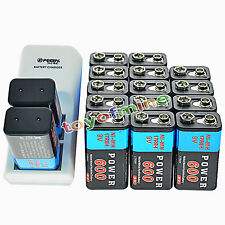 16x 9V 6F22 PPS Block 600mAh Ni-Mh Rechargeable Battery + Dual Batteries Charger