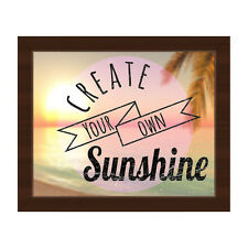 'Create Your Own Sunshine' Canvas Wall Art with Brown Frame