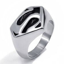 Mens Boys Superman Ring Band Silver Black Stainless Steel Jewelry US Size 8-13