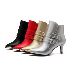 UK Size New Synthetic Leather Pointed Zip High Heel Party Shoes Women Boots H090