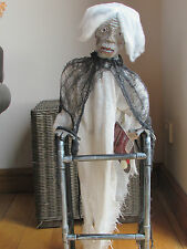 ANIMATED HALLOWEEN PROP ZIMMER FRAME ZOMBIE GRAN MOVING TALKING