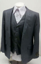 Mens 3Pc Gray Slim Fit Sharkskin Suit Size 46 L 46L Long NEW