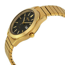 Seiko SNE060 Mens Solar Day/Date Gold Tone Watch. EZ Size Stretch/Expansion Band