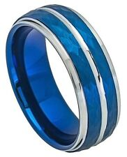 8mm Tungsten Ring Men Women Wedding Band Two-tone Blue IP Plated Hammered Finish