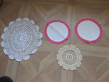 "Vintage Lot of 4 Crocheted Doilies 2 Pink edging 6"" and 2 Round  10"" and 6"""
