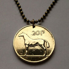 Ireland 20 Pence coin pendant Irish necklace harp Hunting horse stallion n000253