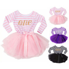 Baby Girls Dress Kids Princess Party Long Sleeve Striped Tulle Tutu Dresses 0-2Y