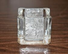 PARTYLITE SQUARE FROSTED FLORAL TEALIGHT VOTIVE CANDLE HOLDER