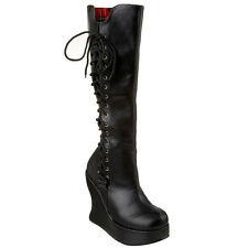 DEMONIA Women's BRAVO-100 Platform Goth Lolita Punk GoGo Wedge Knee High Boots
