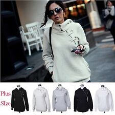 New Ladies Girls Plain Zip Up Hoodie Sweatshirt Women Fleece Hooded Jacket Top