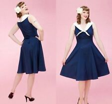 Blue Solid Women Vintage Retro Party Pinup Rockabilly Swing Dress Sailor Collar