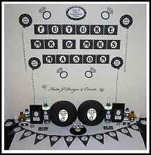 ** ENGAGEMENT PARTY Black Silver Glitter Hearts PERSONALISED Party Decorations *