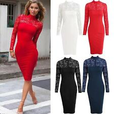 Women Sexy Bodycon Dress Lace Long Sleeve Bandage Cocktail Club Party Dress Q8D1