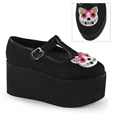 Demonia CLICK-04-1 Women's T-Strap Kitty Cat Felt Piping Detail Platform Shoes