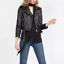 Womens 5 Colors Slim Soft Faux Leather Motorcycle Biker Bomber Jacket Coat
