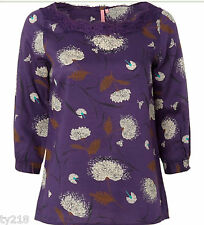 NEW WHITE STUFF PURPLE FLORAL BLOUSE TOP TUNIC UK SIZE 8 10 12