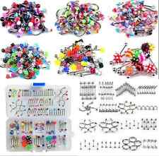 Wholesale Lots 105pcs Tongue Lip Belly Navel Eyebrow Rings Body Piercing Jewelry