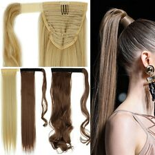 UK Real Hair Wrap Around Ponytail Clip In Hair Extensions Top Human Made LC23
