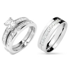 3 PCS Stainless Steel His 9 round CZs Band /Hers Princess Cut CZ Wedding Set