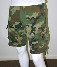 Mens Army Style Work/Camp Cargo Shorts -Woodland Camo