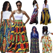 Women Dashiki  Boho Long Maxi Dress Ladies  Ankara African Pleated Skirt U8B2