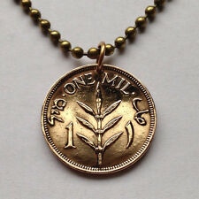 Palestine 1 Mil coin pendant Palestinian necklace WWII Arab Hebrew N000995