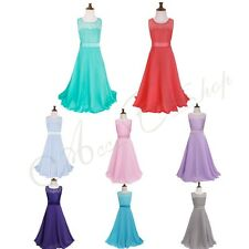 Kid Girl Floral Lace Flower Ball Gown Prom Wedding Bridesmaid Maxi Dress Skirts