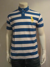 POLO RALPH LAUREN MEN POLO SHIRT [S–L XL] BIG PONY STRIPES BLUE NIP
