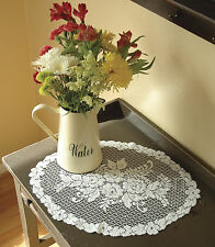 Romantic Victorian Rose Doily by Hertiage Lace, 11 Inch Round in White or Ecru