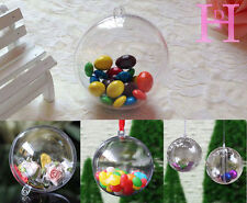10×5cm Clear Plastic ball 2part Christmas Baubles birthday Easter ball boxed