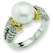 St Silver 14K Gold 10mm Cultured Pearl Diamond Ring
