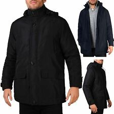 Mens Detachable Hood Warm Padded Parka Jacket Hooded Winter Plus Size Coat Snow