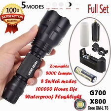3000LM X800 LED Tactical Flashlight Zoom Military Torch Light+Battery+Charger