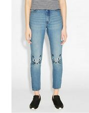 New Womens Fashion Cat Animal Embroidered Slim Jeans Denim Pants Trousers