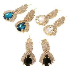 Fashion Women Ladies Water Drop Shape Crystal Rhinestone Ear Studs Drop Earrings