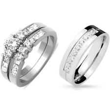 3 PCS His Hers Stainless Steel Round CZ Wedding Set /Mens  9 Round CZs Band