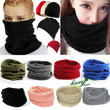 Mens Women Winter Neck Warmer Scarf Snood Wrap Bandanna Headwear Ski Beanie Hat