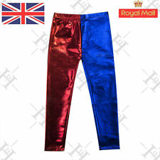 Girls Cosplay Harley Quinn Metallic Leggings Red Blue Suicied Squad Costume