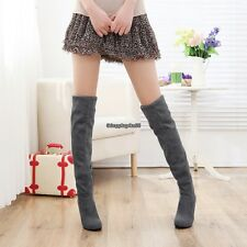 Fashion Women Faux Suede Casual Women Over Knee Stretchy High Heel Boots EH7E
