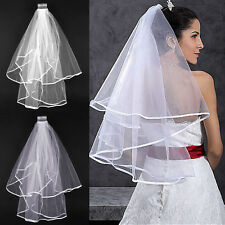 Wedding Bridal Veil Satin Edge With Comb Elbow Elegant Cathedral