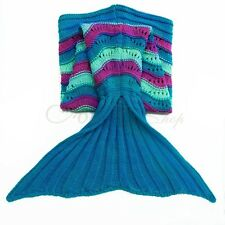 Handmade Adult Kids Soft Crocheted Mermaid Tail Blanket Sofa Knitted Bedding Bag