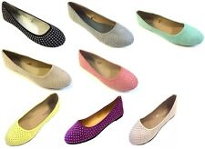 New Womens Faux Suede Rhinestone Ballerina Ballet Flats Shoes 5 Colors Available