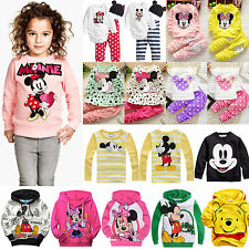 Baby Kids Girls Mickey Minnie Hoodie Coat T Shirt Tops Pants Set Cartoon Outfits