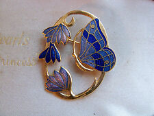 VINTAGE SIGNED FISH GORGEOUS CLOISONNE ENAMEL BUTTERFLY FLOWERS BROOCH SHAWL PIN