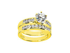 1.30Ct Round Cut Diamond Engagement Ring Wedding Band Set Solid 18k Gold G SI1