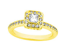 Genuine 1.10Ct Princess Round Diamond Halo Engagement Ring Solid 18k Gold G SI1