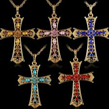 Wholsale Gold Tone CROSS Crystal Rhinestone Pendant Sweater Long Chain Necklace