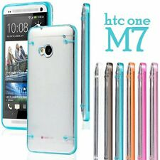 for HTC ONE M7 - TPU Rubber Gel Gummy Hard Rubber Transparent Clear Case Cover