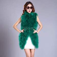 Real hairy Ostrich Feather furry Fur Vest coat jacket Ladies waistcoat Vintage