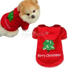 Red Pet Dog Christmas Tree Clothes Puppy Cat Hoodie Coat Winter Warm Outfit